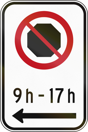 weekday: Canadian road sign - No Stopping in specified times. This sign is used in Quebec.