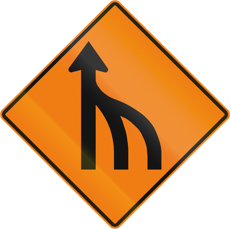 single lane road: TemporaryWorks road sign in Quebec, Canada - Right lanes end.
