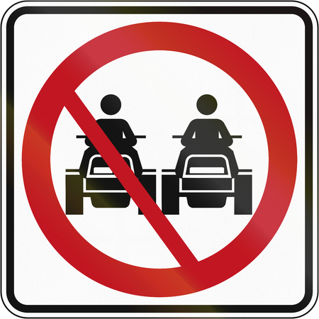 overtaking: Canadian traffic sign - No overtaking for ATVs. This sign is used in Quebec.