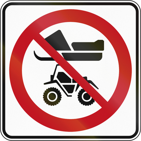 regulatory: Regulatory road sign in Quebec, Canada - No snowmobiles and ATVs.