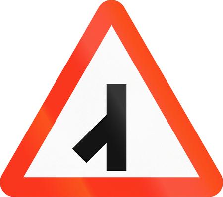 red handed: Bangladeshi danger warning sign: 45 degree intersection Stock Photo