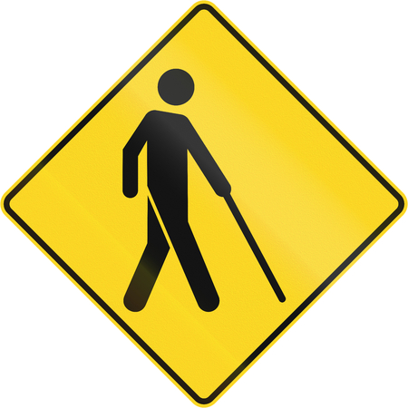 rhomb: Warning road sign in Canada - Blind people. This sign is used in Quebec.