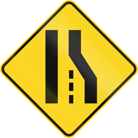 single lane road: Canadian road warning sign: Right lane ends or road narrows from the right. This sign is used in Quebec.