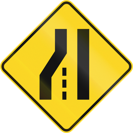 single lane road: Canadian road warning sign: Left lane ends or road narrows from the left. This sign is used in Quebec.