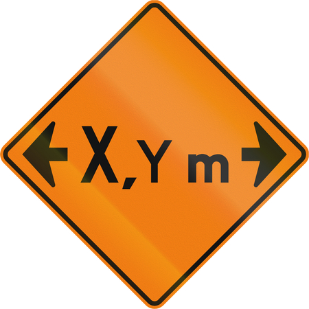 width: Temporary warning road sign in Canada: Width restriction ahead in meters. This sign is used in Quebec. Stock Photo