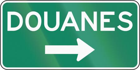 가이드 및 정보 도로 표지판 퀘벡, 캐나다 - 세관.