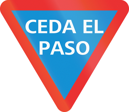give the way: Ceda El Paso (Give Way) sign in the Mexican state of Jalisco. Stock Photo