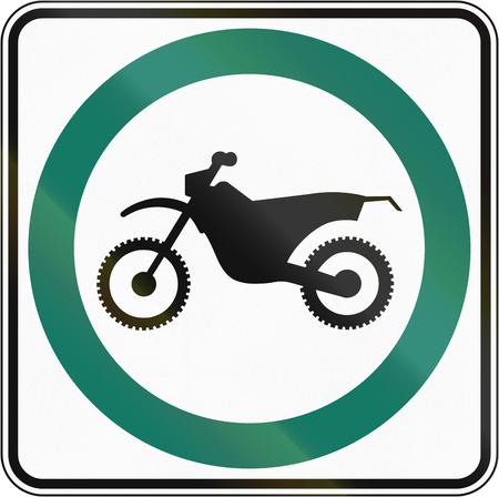 dirt bike: Regulatory road sign in Quebec, Canada - Dirt bike lane.