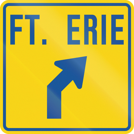 Road Guide sign in Canada - Fort Erie. This sign is used in Ontario.