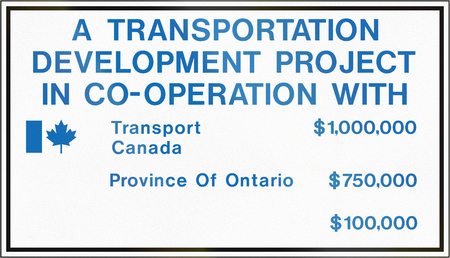 informational: Informational road sign in Canada - Contract identification sign for joint projects. This sign is used in Ontario. Stock Photo
