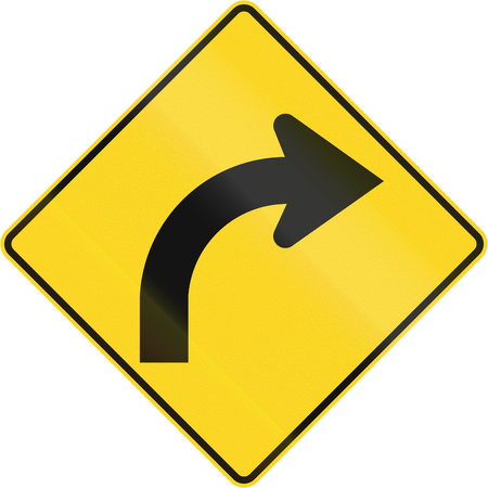 curve road: Canadian road warning sign - Right curve ahead. This sign is used in Quebec.
