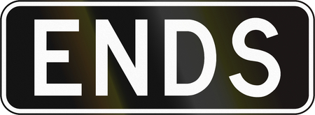 supplemental: Supplementary regulatory plate for road signs in Canada - Lane ends. This sign is used in Ontario.