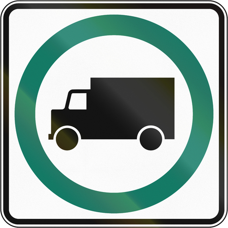 regulatory: Regulatory road sign in Quebec, Canada - Lorry lane. Stock Photo
