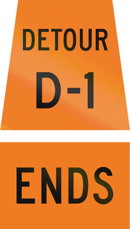 d1: Canadian temporary road sign - Detour D-1 ends. This sign is used in Ontario.