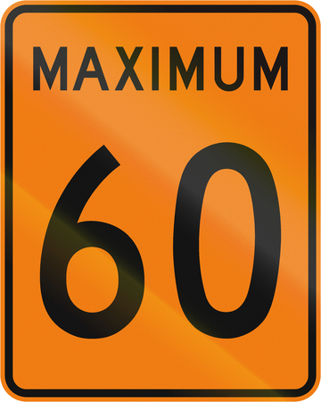 kmh: Temporary road sign in Canada - Speed limit 60 kmh. This sign is used in Quebec. Stock Photo