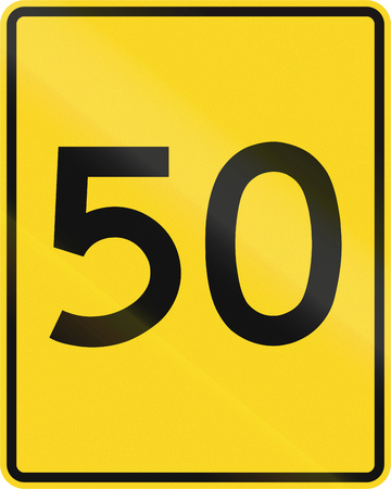 mph: A road sign in Canada - Speed limit 50 mph. This sign is used in Ontario.