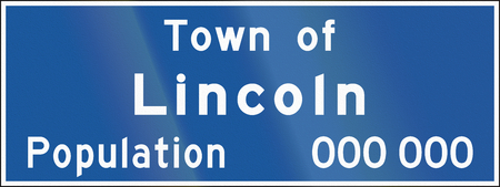 populate: A town name sign in Ontario, Canada - Lincoln Stock Photo