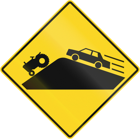 tractor warning: Warning road sign in Quebec, Canada - Slow vehicles behind blindhead.
