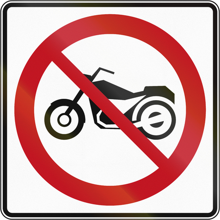thoroughfare: A Canadian sign prohibiting thoroughfare for motorcycles. This sign is used in Quebec.