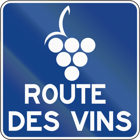 wine road: Guide and information road sign in Quebec, Canada - Wine route.