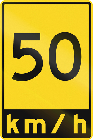 kmh: A road sign in Canada - Speed limit 50 kmh. This sign is used in Ontario.