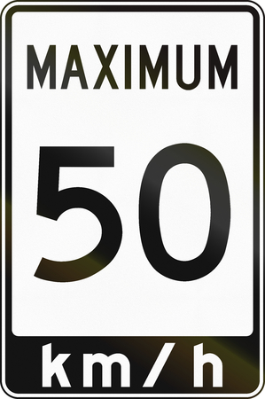 speed limit sign: Canadian speed limit sign, in kilometers per hour. This sign is used in Ontario.