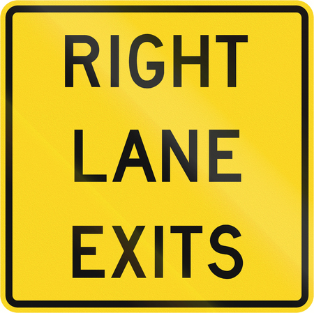 exits: Road sign in Canada - Right lane exits. This sign is used in Ontario.