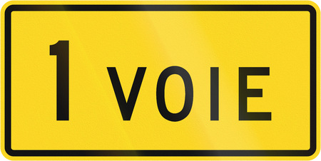 one lane roadsign: Warning road sign in Quebec, Canada - One Lane. Stock Photo