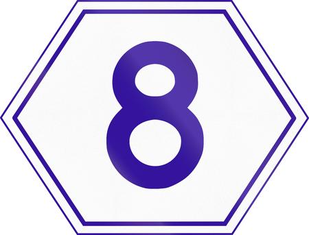 number 8: Australian Metroad Route Marker Number 8, used in Brisbane, Queensland.