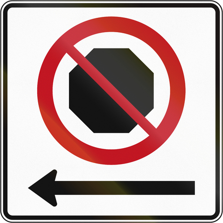 red handed: Canadian road sign: No stopping on the left. This sign is used in Quebec.