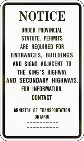 ministry: Road notice by the Ministry of Transportation - Ontario - Canada.