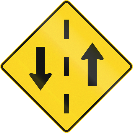 opposing: Warning road sign in Canada - Opposing traffic. This sign is used in Quebec.