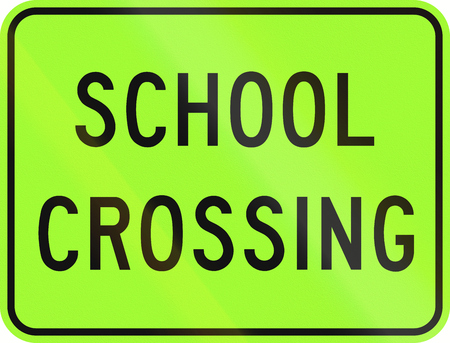 lurid: An Canadian warning traffic sign - School crossing, green version. This sign is used in Ontario.