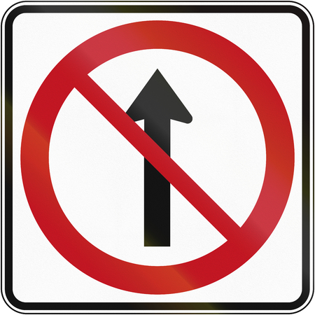 left handed: Canada traffic sign - No straight through. This sign is used in Quebec. Stock Photo
