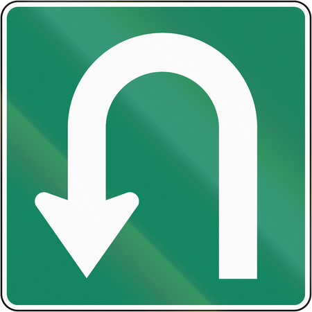 Canadian regulatory sign - mandatory U-turn. This sign is used in Quebec.
