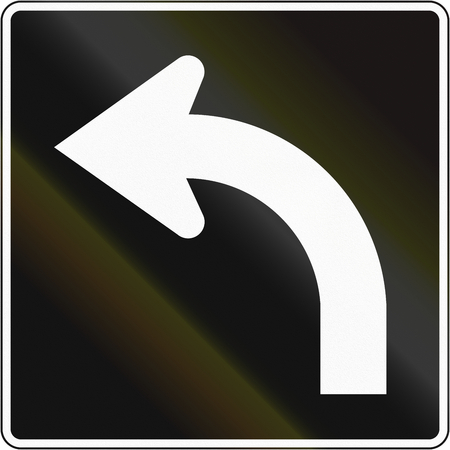 left handed: Lane management sign in Canada - Lane for left turn. This sign is used in Quebec. Stock Photo