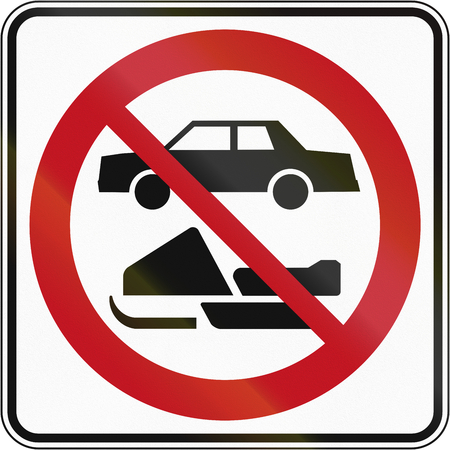 no skid: Regulatory road sign in Quebec, Canada - No snowmobiles and cars.