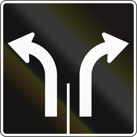 right handed: Lane management sign in Canada - Two lanes left and right. This sign is used in Quebec.