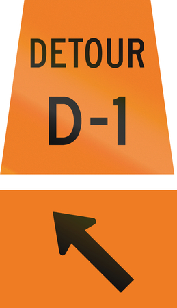 d1: Canadian temporary road sign - Keep Left for detour D-1. This sign is used in Ontario. Stock Photo