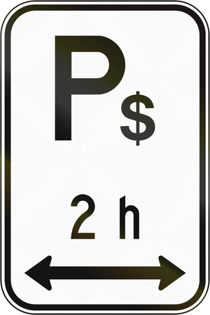 right handed: Regulatory road sign in Quebec, Canada - 2 hour pay parking in both directions. Stock Photo