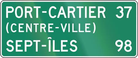 distances: Guide sign in Quebec, Canada - Distances. Centre-ville means city center.