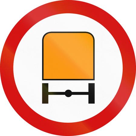 thoroughfare: Polish traffic sign prohibiting thoroughfare of motor vehicles subject to identification of dangerous goods. Stock Photo