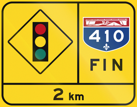 means to an end: Warning road sign in Quebec, Canada - End of highway, Traffic lights. Fin means end