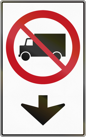 prohibiting: Canadian traffic sign prohibiting thoroughfare of lorries on the lane. This sign is used in Quebec. Stock Photo