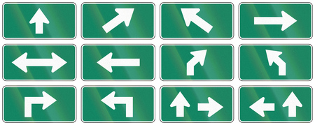 supplemental: Set of turquoise arrow signs used as supplemental traffic signs in Quebec, Canada.