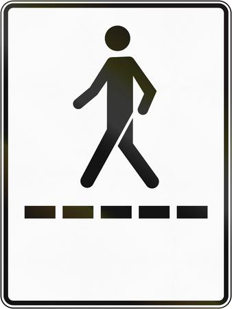 pedestrian walkway: Regulatory road sign in Quebec, Canada - Pedestrian walkway. Stock Photo