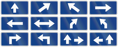 supplemental: Set of blue arrow signs used as supplemental traffic signs in Quebec, Canada.