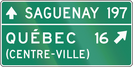 distances: Guide sign in Quebec, Canada - Direction sign with distances. Centre-ville means city center.
