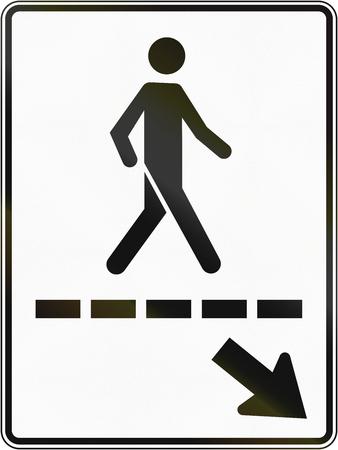 pedestrian walkway: Regulatory road sign in Quebec, Canada - Pedestrian walkway to the right.