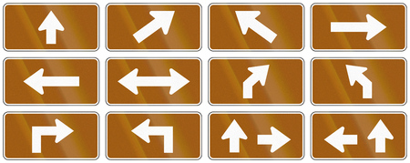 supplemental: Set of brown arrow signs used as supplemental traffic signs in Quebec, Canada.